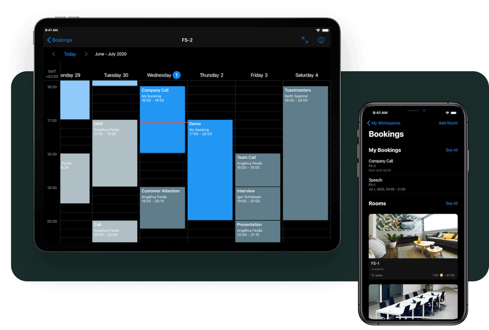 andcards bookings page dark mode