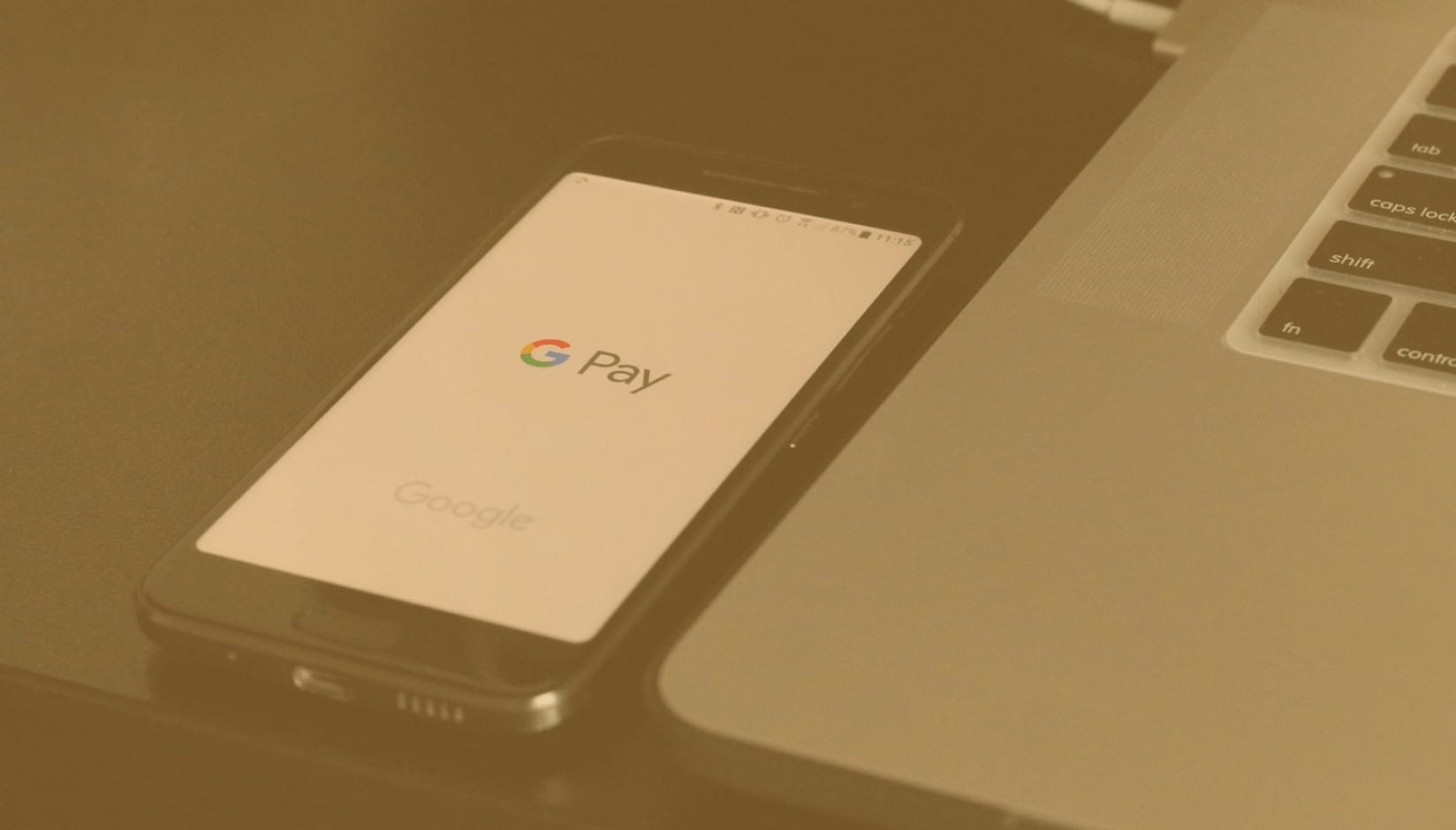 Google pay logo on the phone