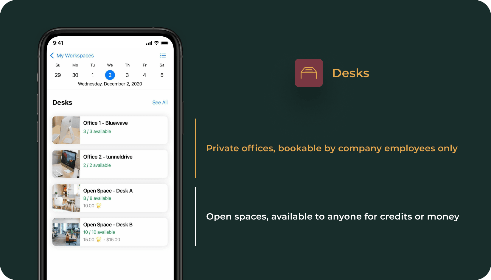Desks in private offices and in the open space displayed on andcards app