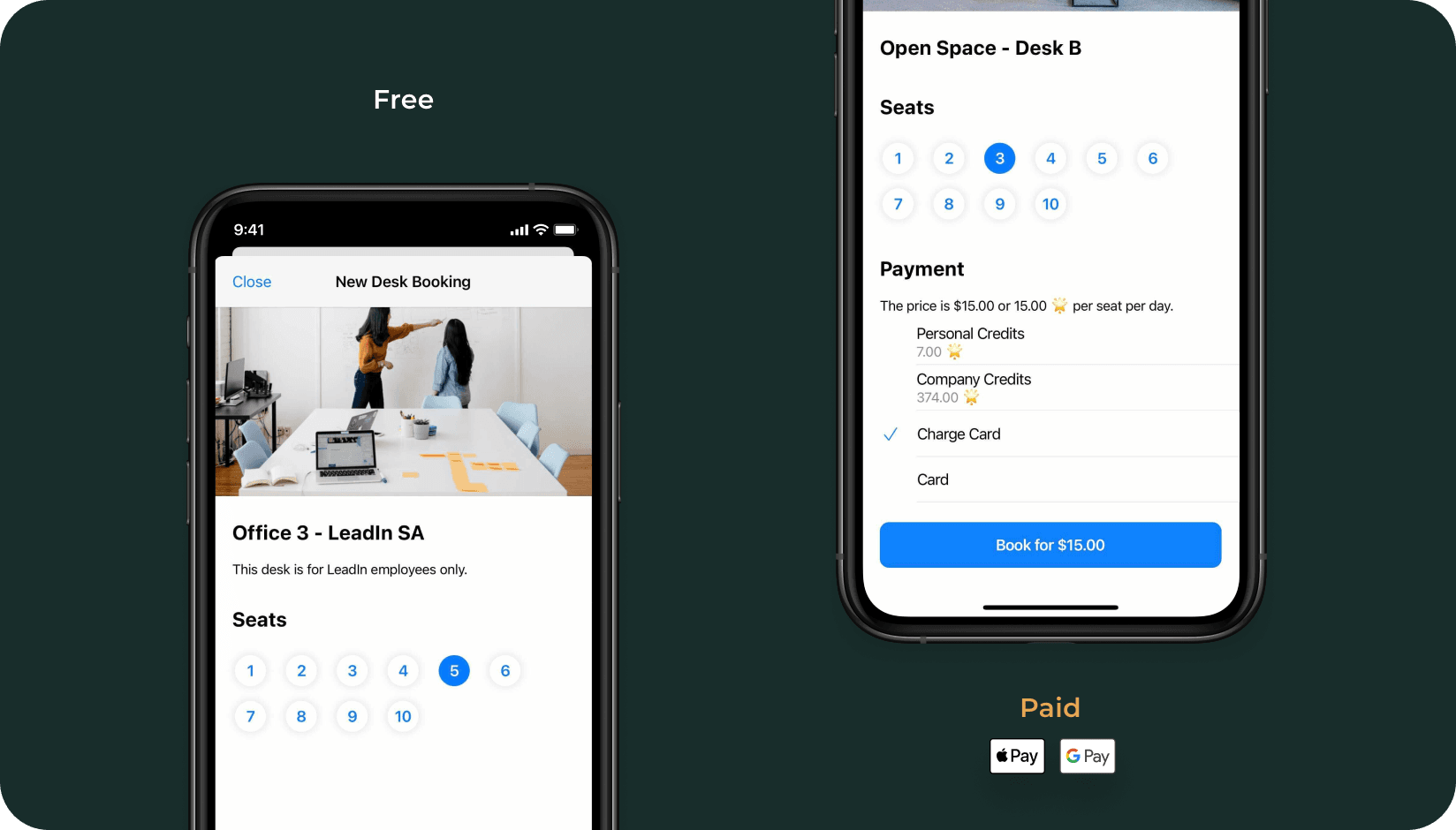 Free and paid desks on andcards app