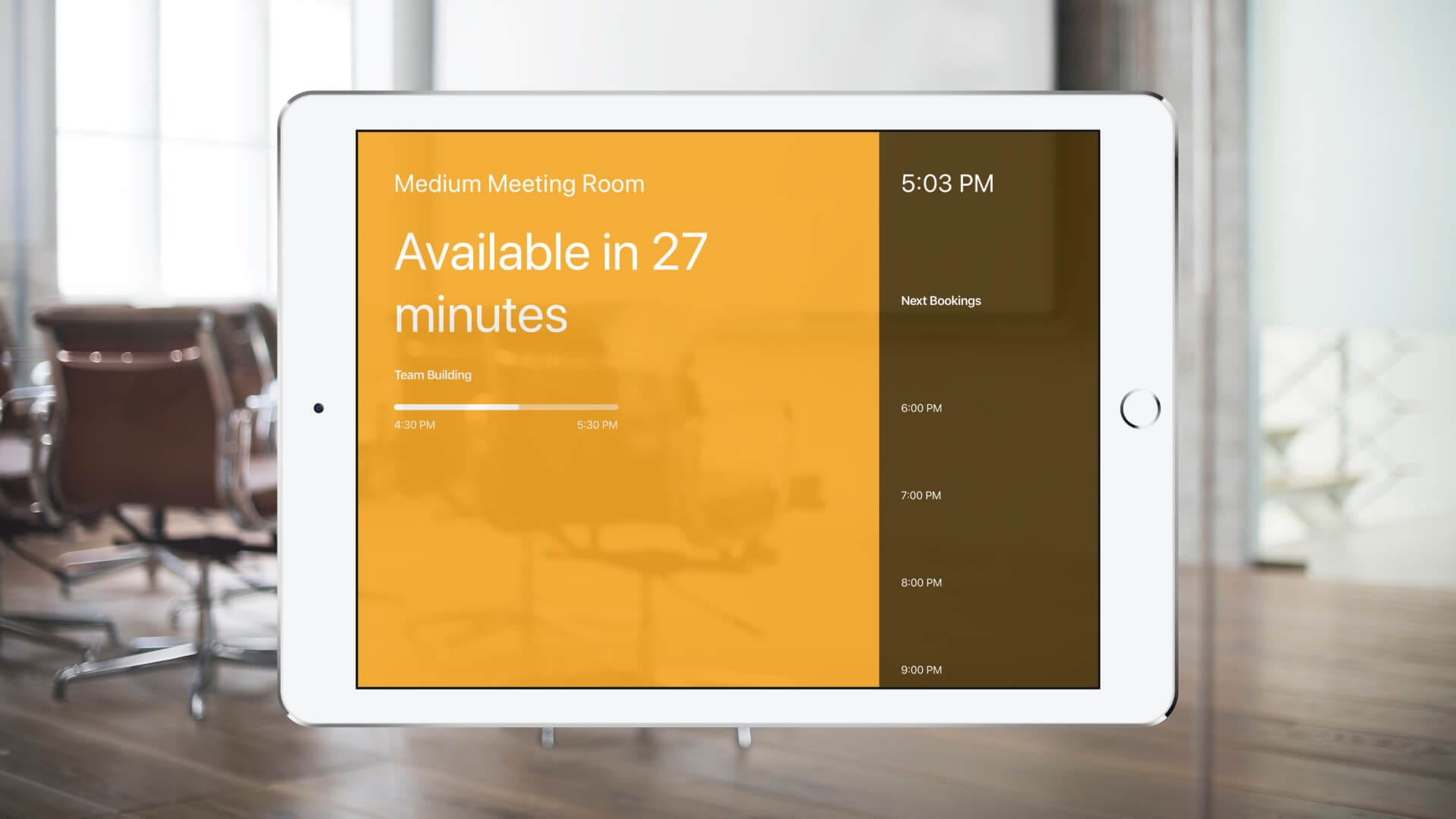 andcards Meeting Room Display on iPad 9.7 tablet meeting room display